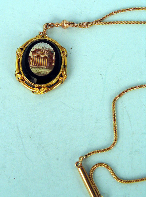 OUTSTANDING 14K GOLD MICROMOSAIC PENDANT AND CHAIN 1870s
