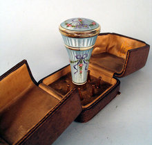 MUSEUM QUALITY ENAMEL STERLING UMBRELLA PARASOL CANE HANDLE W COMPACT IN ASPREY BOX