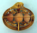 STUNNING RARITY ANTIQUE TRIPLE CAMEO SNAKE BROOCH TURQUOISE RUBY EYES 14K GOLD