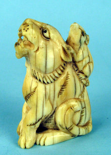 JAPANESE MEIJI RAT ON TIGERS BACK NETSUKE IVORY