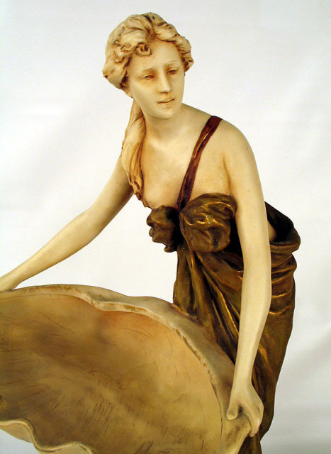 QUALITY LARGE ROYAL DUX BOHEMIA SIGNED HERMAN SCHUBERT WOMAN WITH BOWL CLASSIC FORM