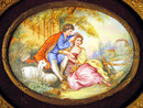 ANTIQUE SWISS ENAMEL PLAQUE WELL ENAMELED OVAL COURTING SCENE 1800S