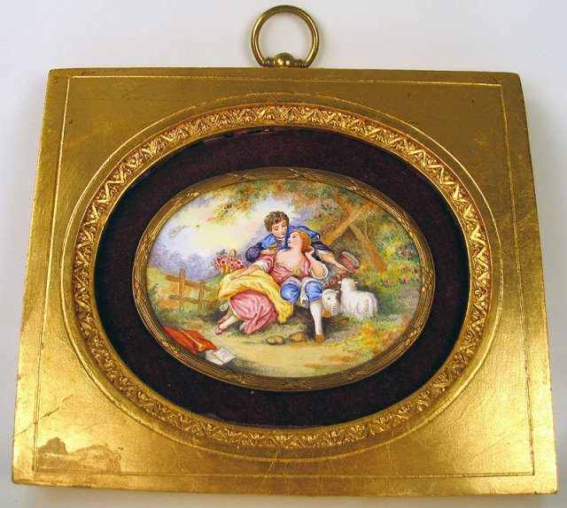 OUTSTANDING EARLY SWISS ENAMEL PLAQUE IN FRAME ANTIQUE COURTING SCENE