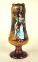 FINE FRENCH ENAMEL VASE OF WOMAN  VICTORIAN SIGNED VALLET