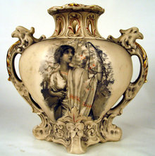 UNUSUAL ROYAL DUX RETICULATED BOHEMIA VASE W GRIPHONS EAGLES