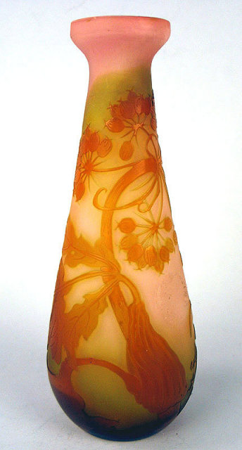 FINE ORGINAL GALLE FLORAL VASE 4 COLOR CIRCA 1900