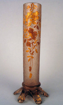 FINE QUALITY BACCARAT OR VAL ST LAMBERT GILDED STICK VASE