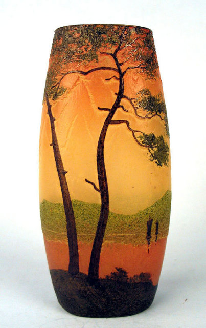 FINE LEGAS ENAMELED AND CAMEO GLASS VASE SUNSET BOATS