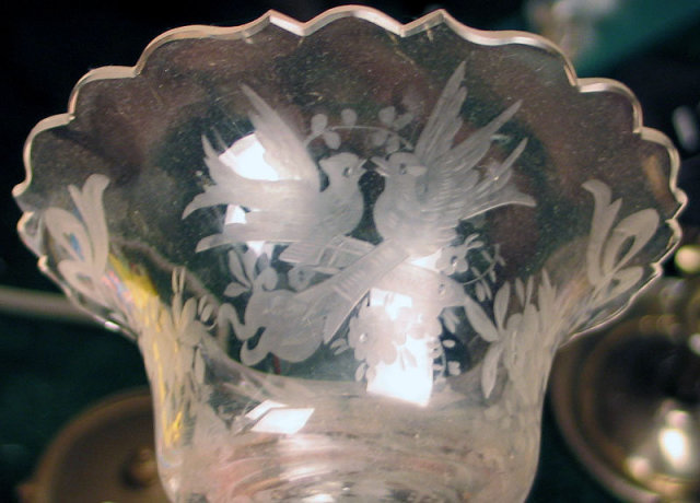 QUALITY STERLING OR 800 SILVER W ETCHED GLASS INSERT FILIGREE GRAPES BIRDS