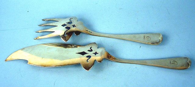 OUTSTANDING WHITING STERLING SILVER FISH SET VERY HEAVY VICTORIAN FANCY