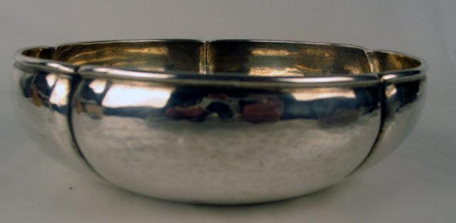Fine Kalo Shops Handmade Hammered Arts & Crafts Lobed Sterling Silver Bowl