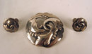 Georg Jensen Sterling Silver Brooch # 20 and Earrings #93 Complete Set