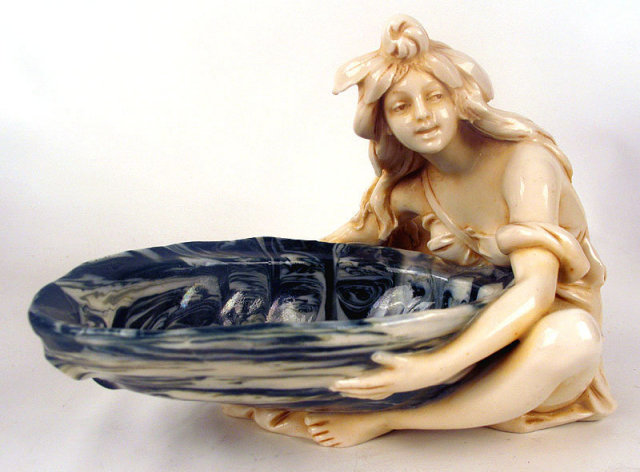 GREAT SEMI NUDE ROYAL DUX WOMAN WITH BOWL BOHEMIA