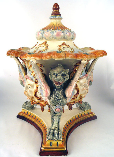 OUTSTANDING ANTIQUE GERMAN MAJOLICA COVERED URN / VASE GRIFFON HEADS