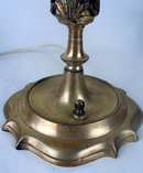 DURAND QUEZAL TIFFANY SILVERED BRONZE LAMP W TRUMPET HOOKED FEATHER GLASS SHADE
