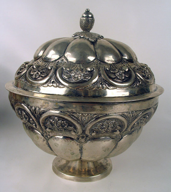 OUTSTANDING COLONIAL MEXICO SPANISH STERLING SILVER COVERED FOOTED BOWL MARKED