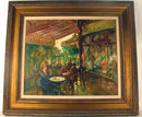 MARIO PASSONI OIL ON CANVAS FRENCH CAFE STREET SCENE IMPRESSIONIST
