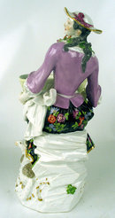 Large Meissen Woman with basket Sheep Shepherd Dresden