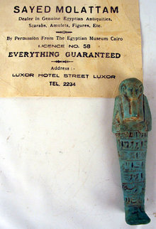 Faience Ushabti ex Sayed Mollatam 18th Dynasty 1500BC with Export Certificate
