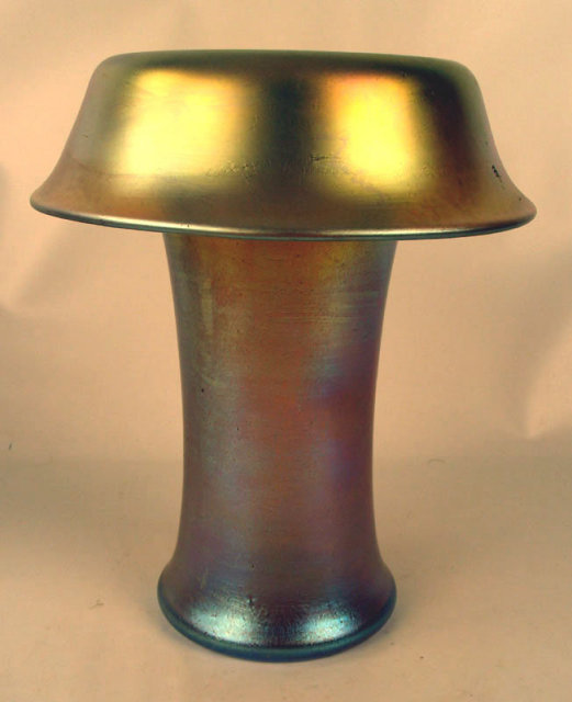 Fine Signed Loetz Rolled Top Gold Aurene Style CZECHOSLOVAKIA Vase