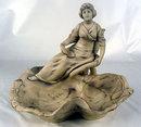 Fine Royal Dux Bohemia Figural Candlestick / Bowl Art Nouveau