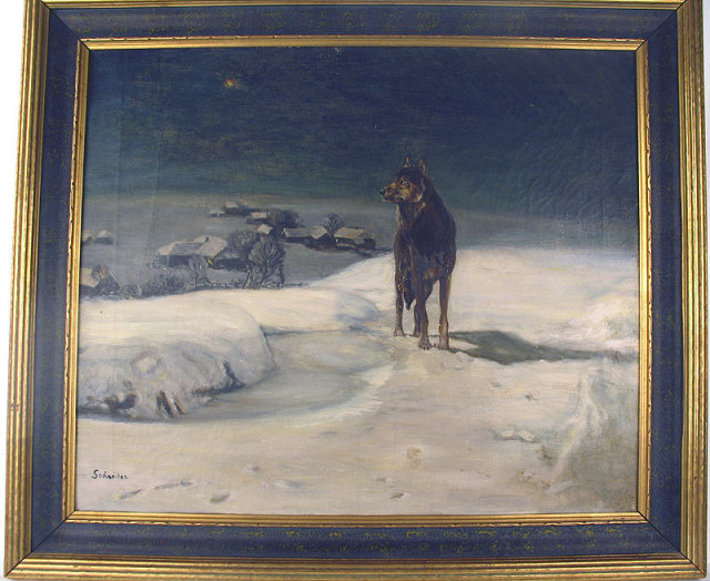 A GOOD GERMAN OIL PAINTING SIGNED SCHRODER WITH A  FINE PERIOD FRAME