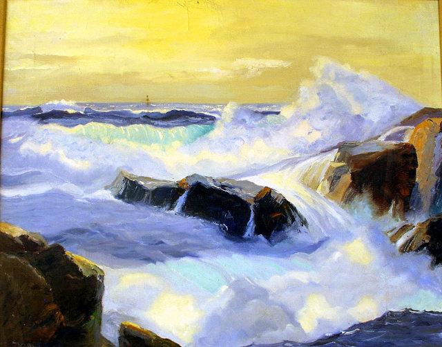 POWERFUL COASTAL SEASCAPE OIL PAINTING  BY CALIFORNIA ARTIST RUE LAU