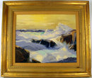 POWERFUL COASTAL SEASCAPE OIL PAINTING  BY CALIFORNIA ARTIST RUE LAU