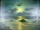 STUNNING CHARLES J HAGBERG PAINTING MOONLIT BEACH SCENE WELL LISTED