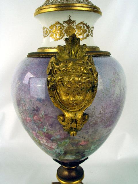 Fabulous Quality Sevres Urn w Cherub Handles Noveau Impressionist Style