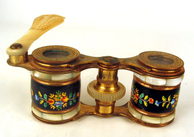 Outstanding Opera Glasses Enamel and Mother of Pearl