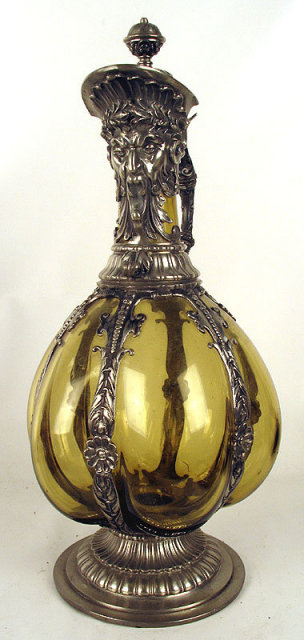 Fantastic Pewter Mounted Glass Decanter Tudric WMF NorthWind face