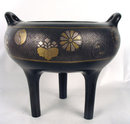 Imperial Japanese Meiji Inlaid Bronze Ding Vessel
