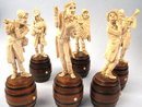 Fine Ivory and Wood carved Six Figure Caricature Band 19th C Austrian