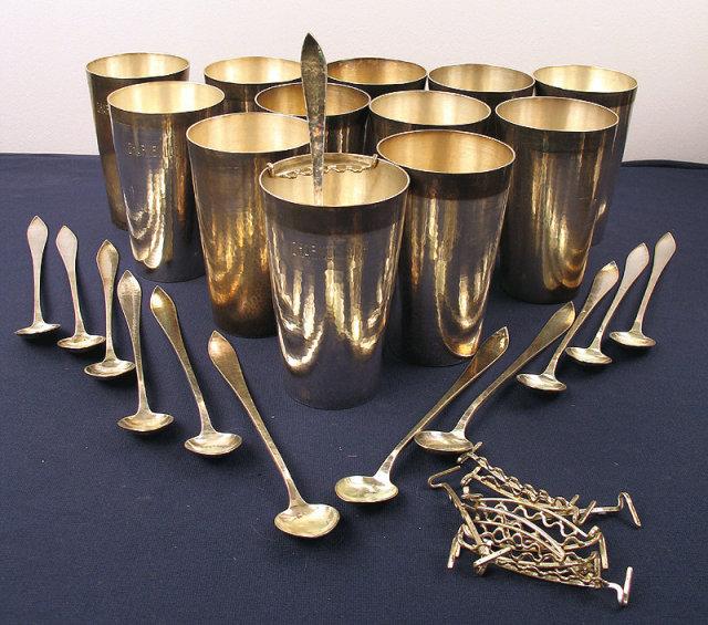 Kalo Shops Iced Tea Mint Julep Sterling Cups Teaspoons