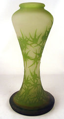 Large Original French Galle Chardons Cameo Art Glass Vase