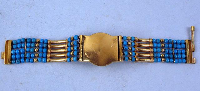Outstanding Victorian 18K Persian Turquoise Bracelet
