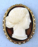 High Relief Banded Agate 14K Pearl Cameo Victorian