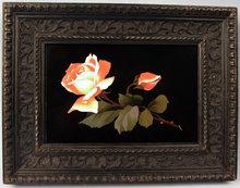 Exceptional Antique Pietra Dura Italian Plaque of Rose