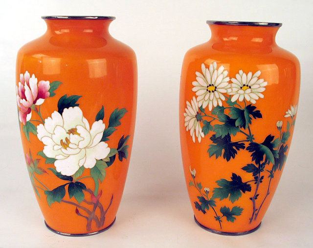 Fine Meiji Japanese Cloisonne Matched Orange Floral