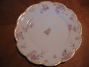 Haviland Limoges dinner plate, pink roses with gold