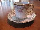Haviland Limoges Demitasse Cup & Saucer,  roses