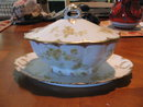 Haviland Limoges covered  sauceboat with attached underplate, yellow roses