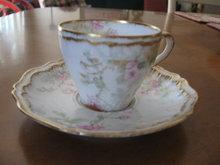 Haviland Limoges demitasse Cup & Saucer, pink roses