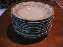 12 Rimmed soups by Haviland Limoges, Large pink roses