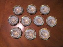Haviland Limoges Monogrammed salt set of 10