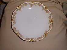 Haviland Limoges  shallow serving bowl, pink roses & gold
