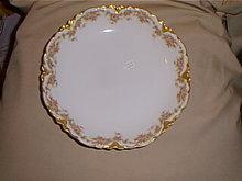 Haviland Limoges  shallow serving bowl, pink roses & gold