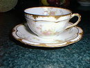 Haviland Limoges teacup & saucer, Schleiger 57G, roses & gold trim