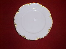 Haviland Limoges luncheon plate, Ranson with gold edge.